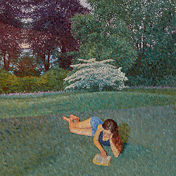 Contemporary pointillism painting, Girl readings with Landscape