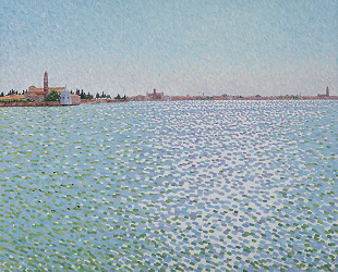 Contemporary pointillism painting, Venice from Murano