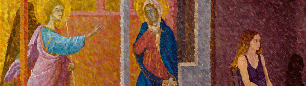 Contemporary pointillism painting, Annunciation with Seated Girl