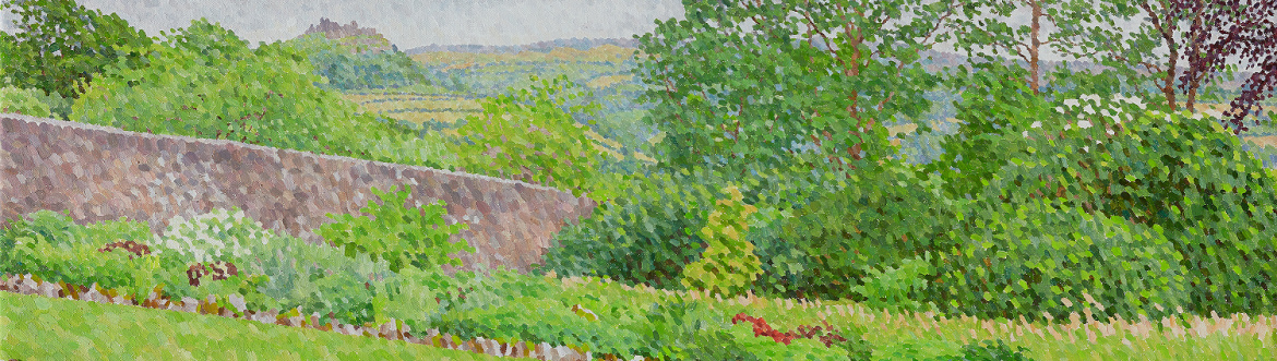 Contemporary pointillism painting, Landscape with Castle
