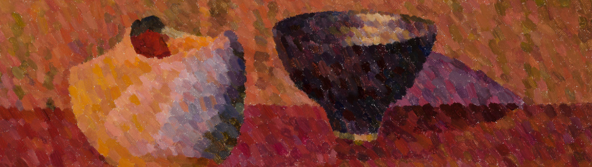 Contemporary pointillism painting, still life, two vessels